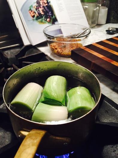 Preparing the Spicy Beet and Leek Salad